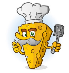 cheese chef cartoon character with a mustache vector image