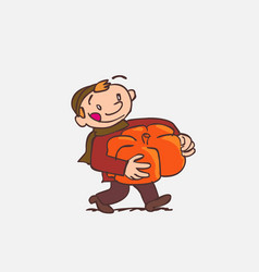 Child with big pumpkin between arms vector