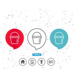 cleaning bucket line icon washing equipment vector image