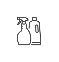 cleaning spray and shampoo line icon cleanser vector image