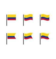 colombia flag icons set symbols flag vector image
