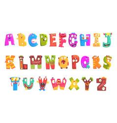 colorful cartoon children english alphabet vector image