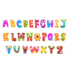 Colorful cartoon children english alphabet with vector
