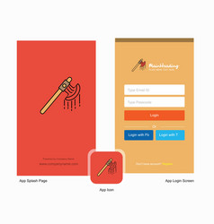 Company bloody axe splash screen and login page vector