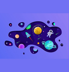 cosmos with planets and astronaut inside shape cut vector image