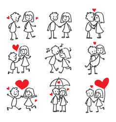 Couple in love stick figure doodle vector