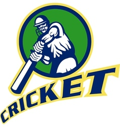 Cricket batsman batting vector