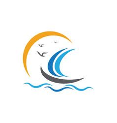 Cruise ship logo template icon design vector