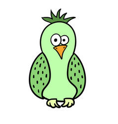 Cute cartoon green bird parrot vector