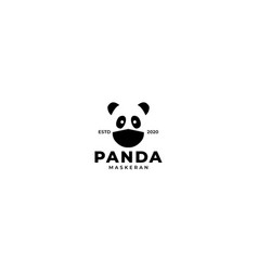 Cute head panda with mask logo design icon vector