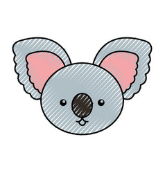 Cute scribble koala face cartoon vector