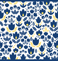 dark blue navy and yellow tulips flowers vector image