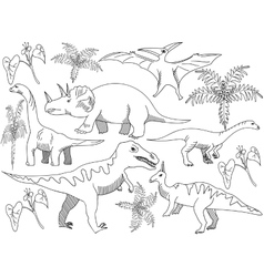 Dinosaur Coloring book for adults vector