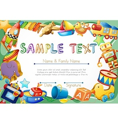 Diploma template with toys on border vector