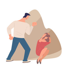 domestic violence man beating scared woman vector image