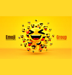 Emoji group yellow winking face funny cartoon vector