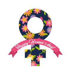 female gender symbol floral happy womens day card vector image