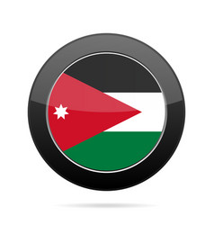 Flag of jordan shiny black round button vector