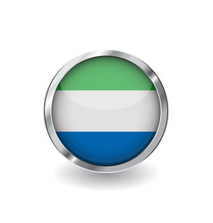 flag of sierra leone button with metal frame and vector image