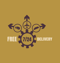 Free delivery emblem design vector