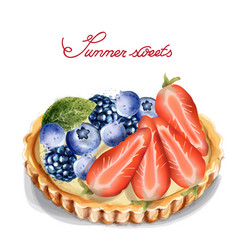 fruit tartlet invitation isolated watercolor vector image