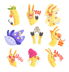 Funny alpaca characters posing in different vector