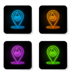 glowing neon map pointer with barbecue icon vector image