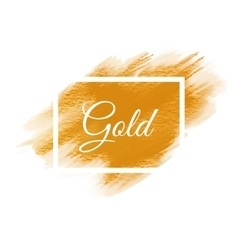 Gold shining acrylic paint stain hand drawn vector