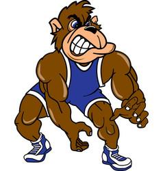 Gorilla sports wrestling logo mascot vector