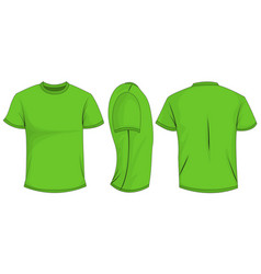 Green t-shirt template in front side and back vector