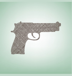 Gun sign brown flax icon on vector