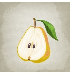 Half of the pear with leaf vector image