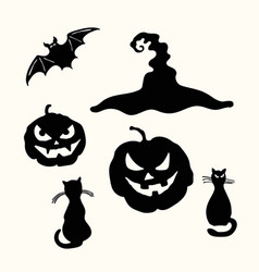 halloween pumpkin lantern black cat witch hat vector image