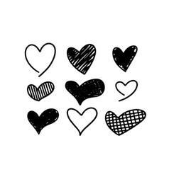 hand-drawn childlike doodle heart icons set vector image