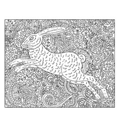 hand drawn rabbit against floral pattern vector image