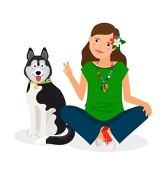 Hippie Girl with Dog vector