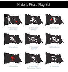 historic pirate waving jolly roger set vector image
