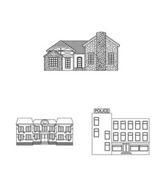 Isolated object of building and front symbol set vector