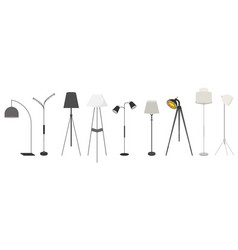Lamps set clocks icons for creating an interior vector