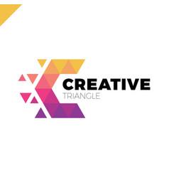 letter c creative triangle color logo design vector image