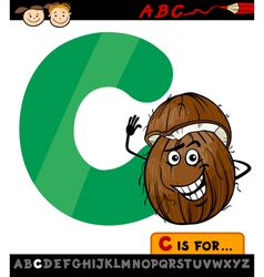 Letter c with coconut cartoon vector
