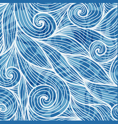 Light blue hair curls waves seamless pattern vector