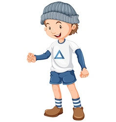 Little boy wearing blue hat vector image