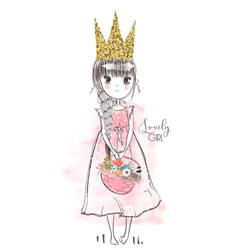 little cute princess vector image