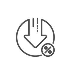 Loan percent decrease line icon discount sign vector