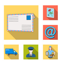mail and postman flat icons in set collection for vector image
