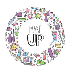 make up doodle logo with lipstick cream mascara vector image
