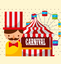 Man tent ferris wheel carnival fun fair festival vector