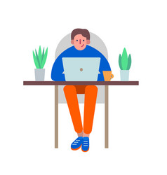 Man using a laptop to work in distance vector
