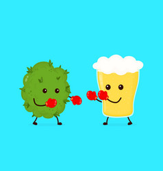 Marijuana weed bud fighting vector
